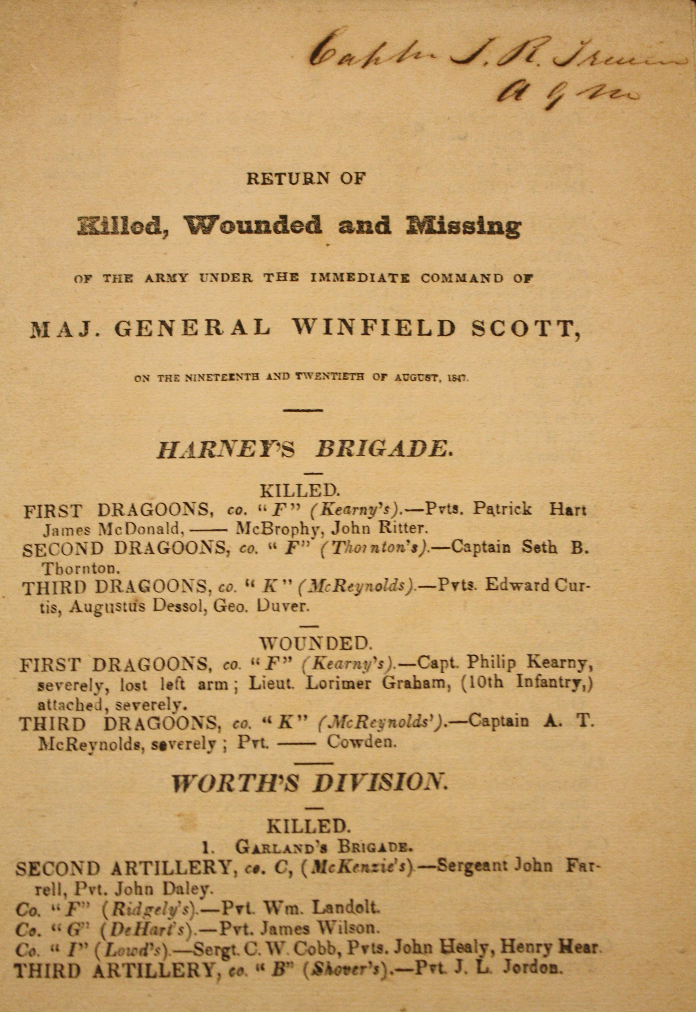 Image for Return of Killed, Wounded and Missing Of The Army Under The Immediate Command Of Maj. General Winfield Scott, On The Nineteenth And Twentieth Of August, 1847