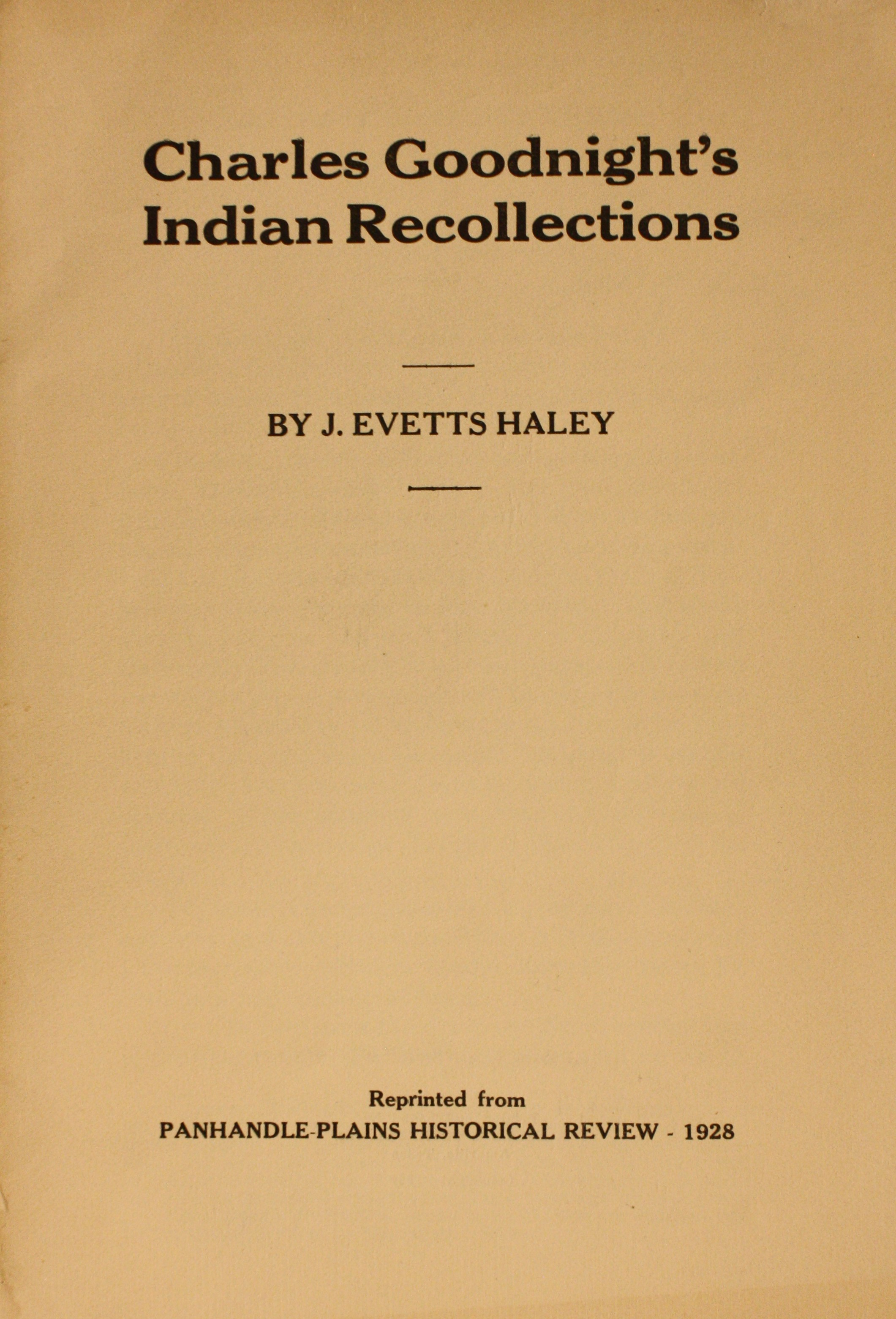 Image for Charles Goodnight's Indian Recollections