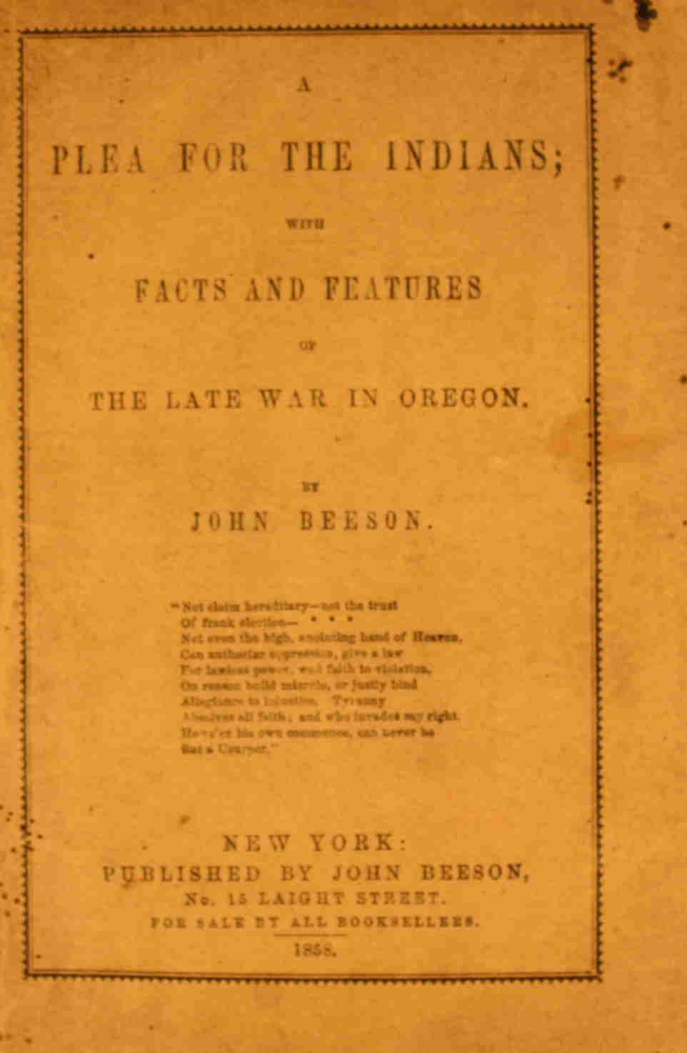 Image for A Plea for the Indians; with Facts and Features of the Late War in Oregon.